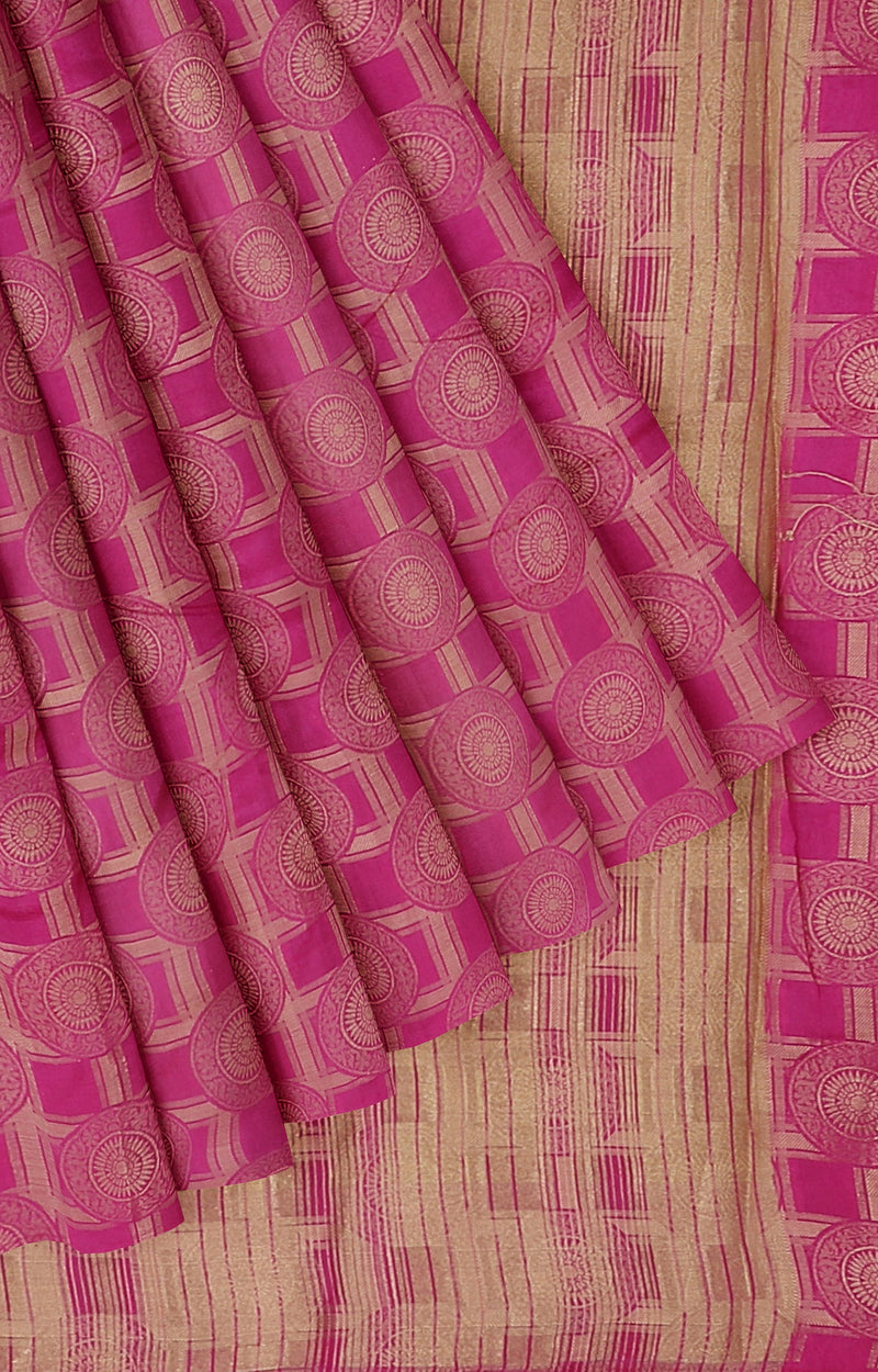 Semi raw silk saree rani pink with banaras style all over zari pattern
