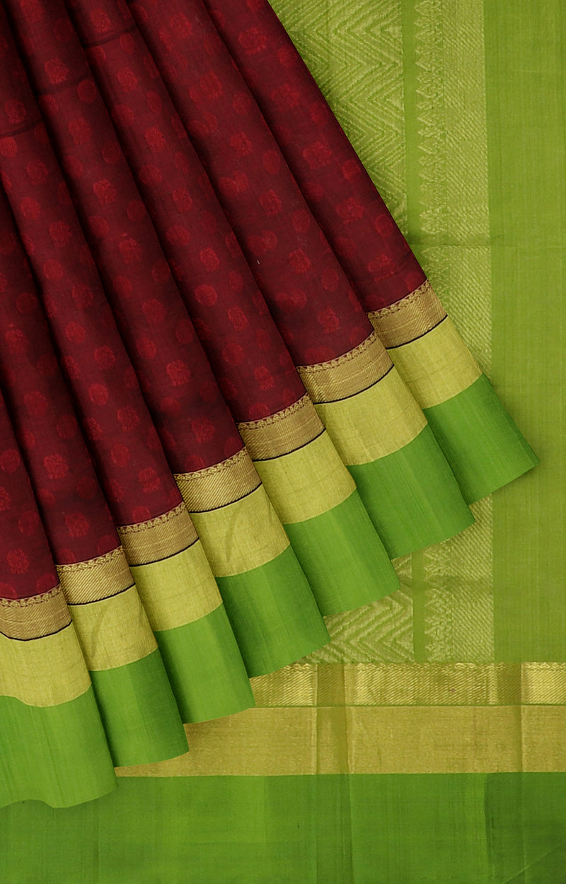 Kuppadam Silk Cotton Saree Maroon and green with long zari border