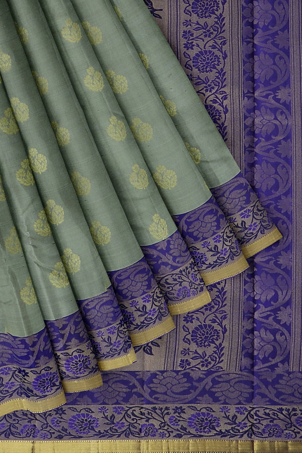 Pure Kanjivaram silk saree grey and violet with long zari floral zari border and overall floral buttas