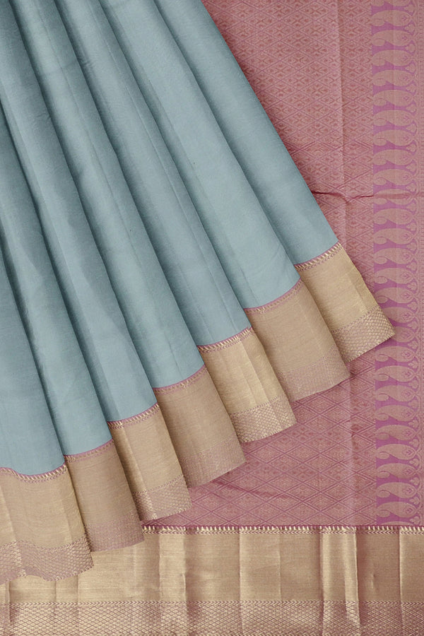 Pure Kanjivaram silk saree grey with pink golden zari long border