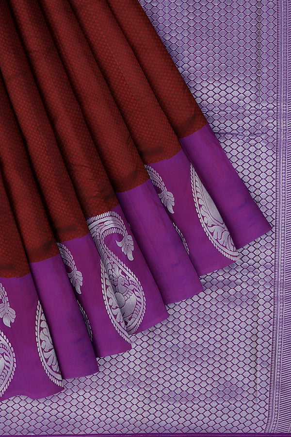 Pure Kanjivaram silk saree maroon with self emboss and dual shade of purple silver zari long paisley peacock border