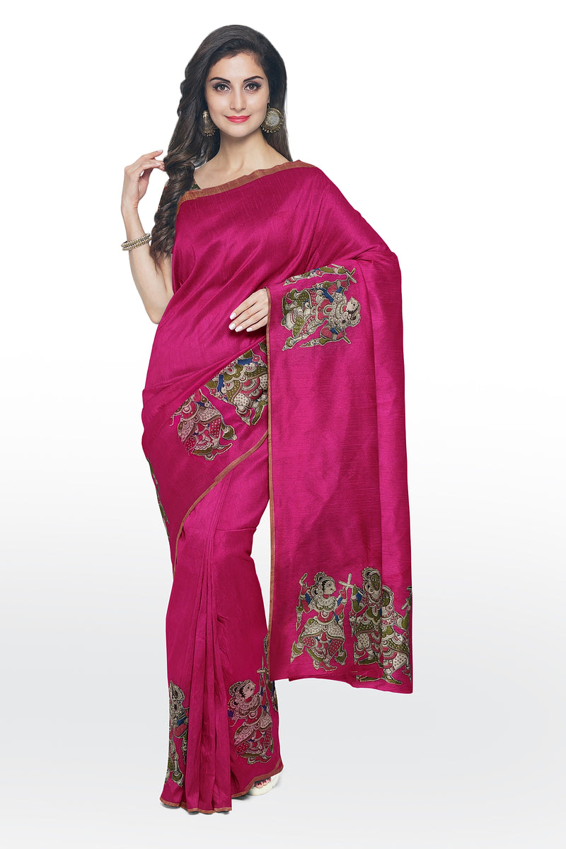 Silk Cotton Saree pink with kalamkari applique work