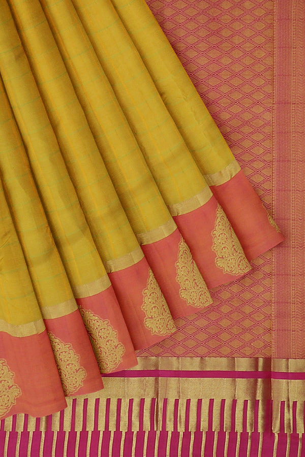 Pure Kanjivaram silk saree Mild yellow and pastel pink with golden zari floral border and checked pattern for Rs.Rs. 6340.00 | Silk Sarees by Prashanti Sarees