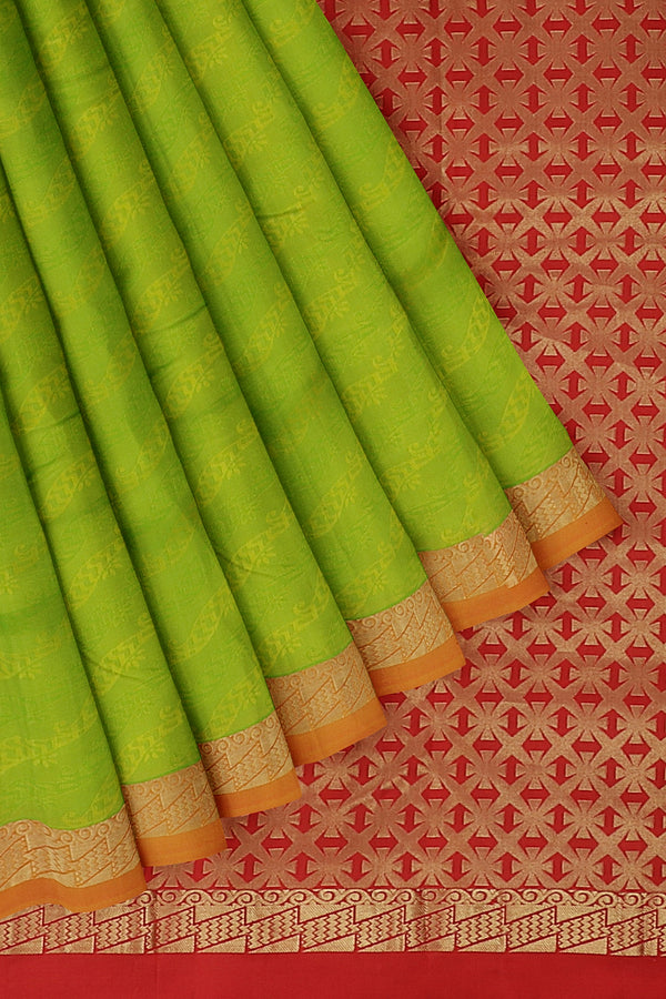 Pure Kanjivaram silk saree grass green and rust orange with golden zari and self emboss