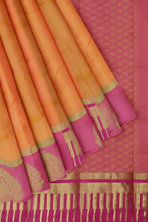 Pure Kanjivaram silk saree dual shade of orange with pink golden zari floral border and checked pattern