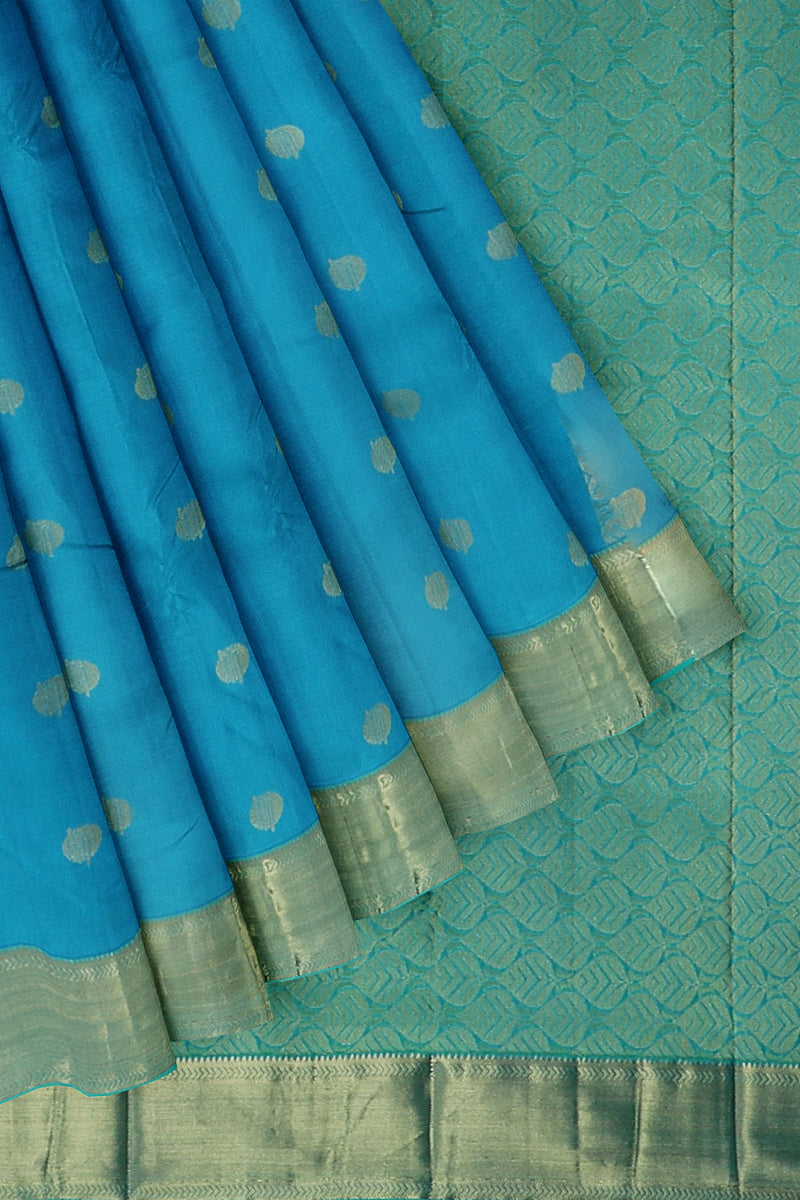 Pure Kanjivaram silk saree Blue with pastal blue golden zari border and overall zari coin buttas
