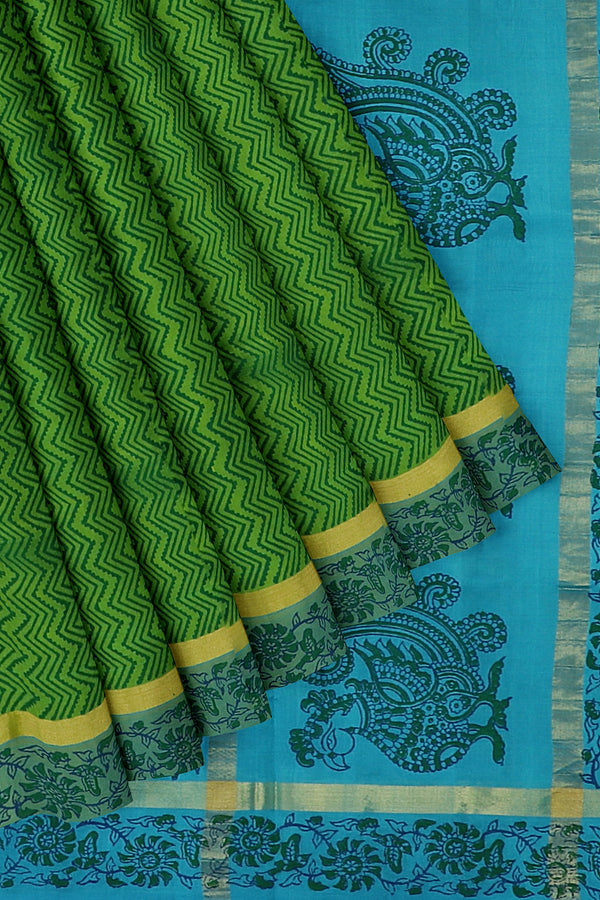 Silk cotton saree green and sky blue with floral wavey hand block prints