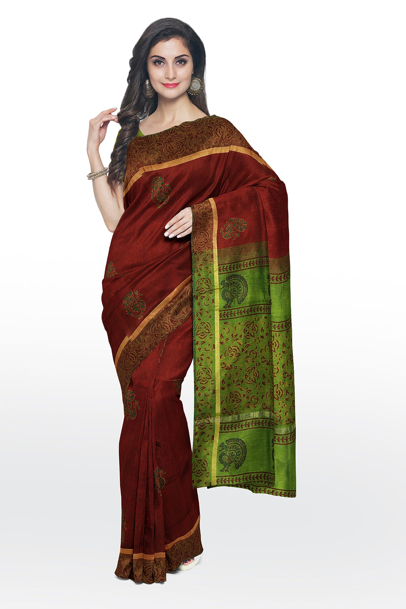 Silk cotton saree maroon and elachi green with peacock hand block prints for Rs.Rs. 2990.00 | Silk Cotton Sarees by Prashanti Sarees
