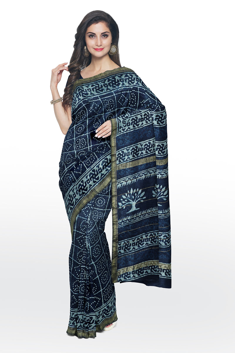 Pure Chanderi bagru hand block printed saree navy blue and half white with checked pattern