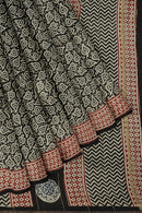 Pure Chanderi bagru hand block printed saree black and white leaf pattern