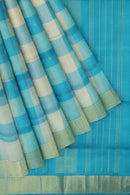 Silk Cotton Saree paalum pazhamum checks blue and white with bavanji border