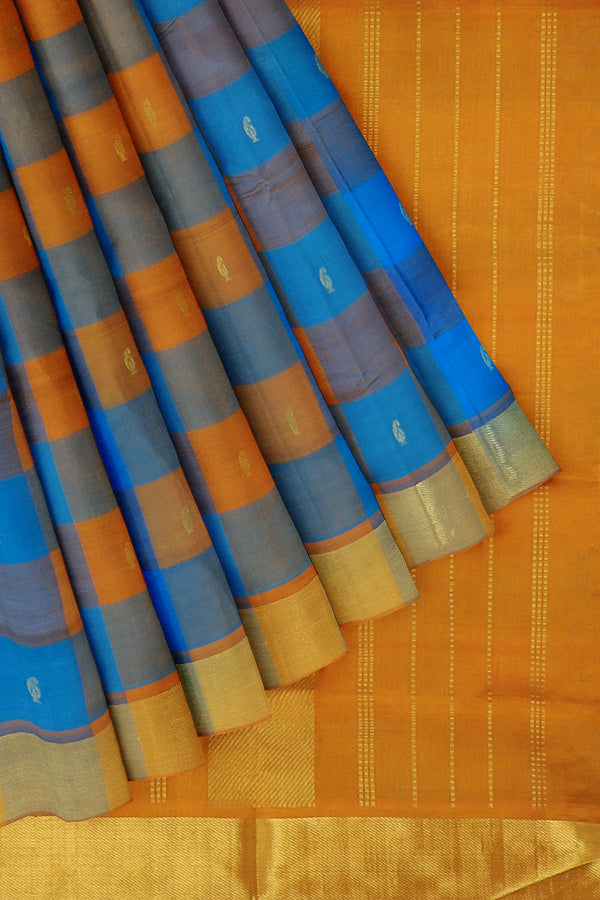 Silk Cotton Saree paalum pazhamum checks yellow and blue with bavanji border