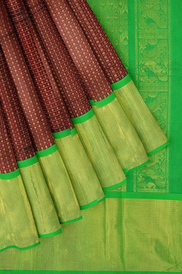Kuppadam silk cotton saree maroon and green with long zari border checked pattern 1000 buttas