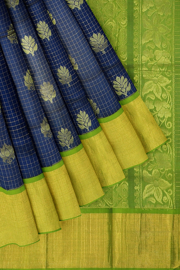 Kuppadam silk cotton saree blue and elachi green checked pattern with long zari border and overall floral zari buttas