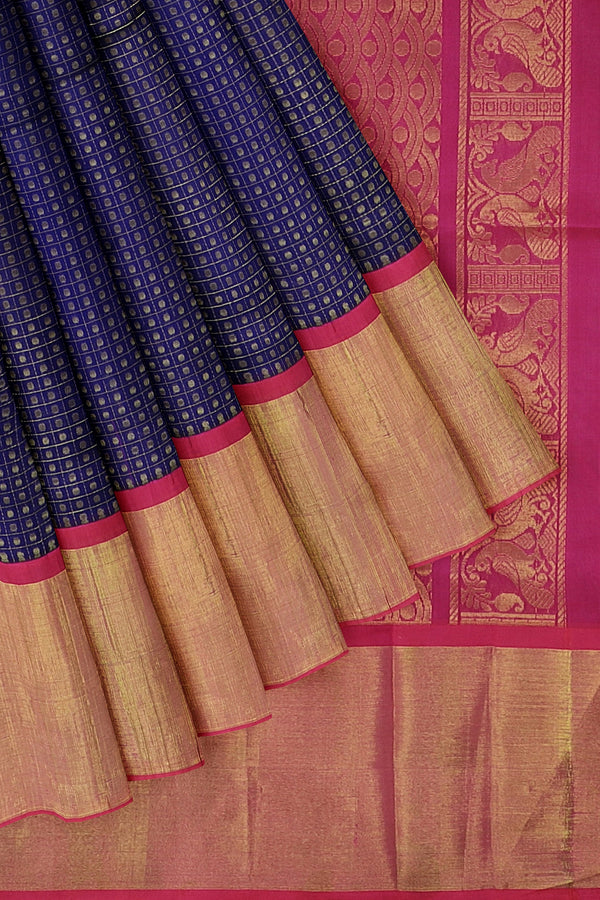 Kuppadam silk cotton saree dual shade of blue and pink with long zari border checked pattern 1000 buttas