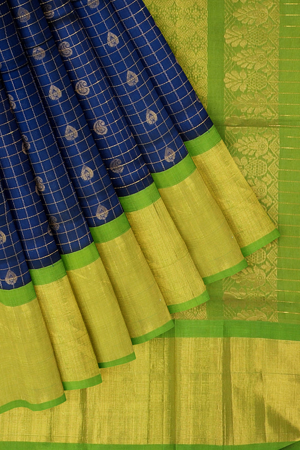Kuppadam silk cotton saree blue and green checked pattern with long zari border and overall paisley zari buttas