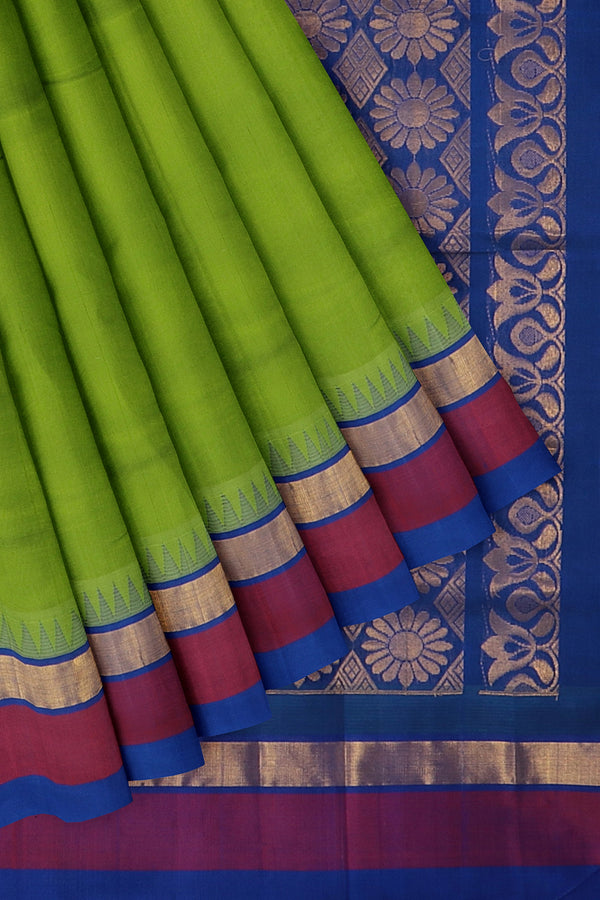 Kuppadam silk cotton saree elachi green and blue with temple thread border