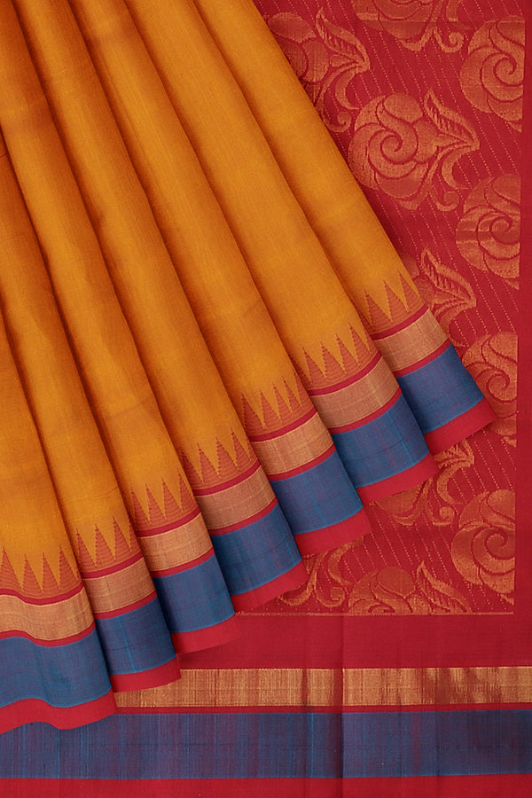 Kuppadam silk cotton saree mustard yellow and red with temple thread border