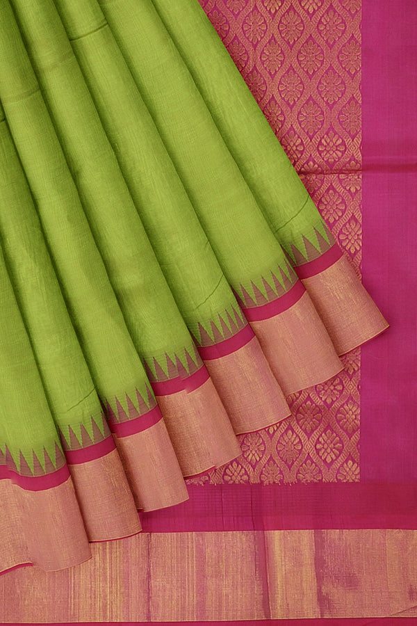 Kuppadam silk cotton saree lite shade of green and pink with long zari temple thread border