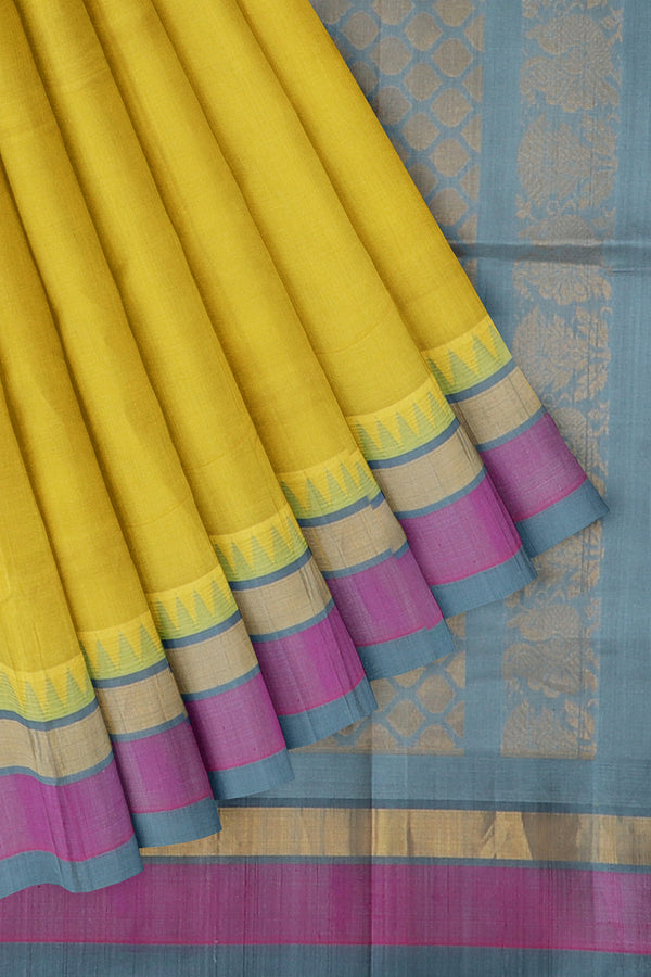 Kuppadam silk cotton saree yellow and grey with temple thread border