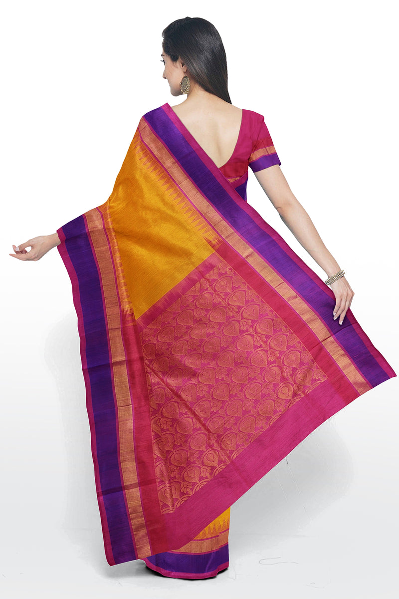 Kuppadam silk cotton saree yellow and pink with temple thread border