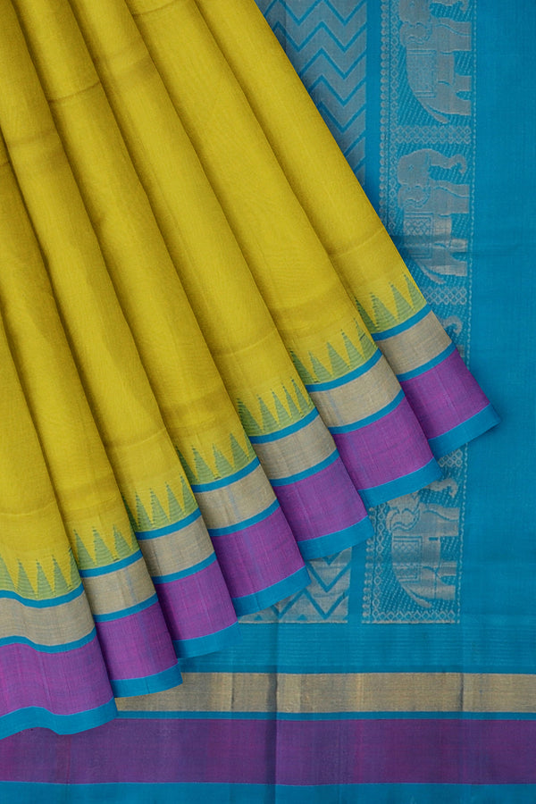 Kuppadam silk cotton saree lime green and ramar blue with temple thread border