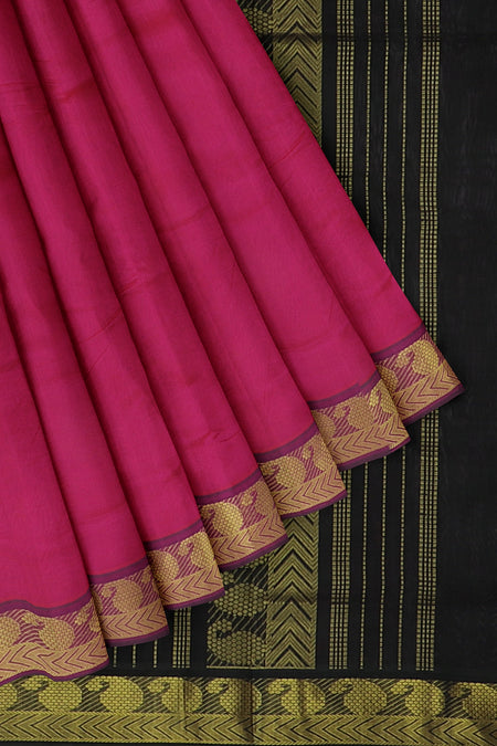Silk cotton saree hot pink and coffee brown with simple paisley zari border