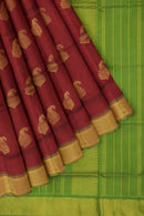 Silk Cotton Saree red and green with zari buttas Traditional Border Vairaosi
