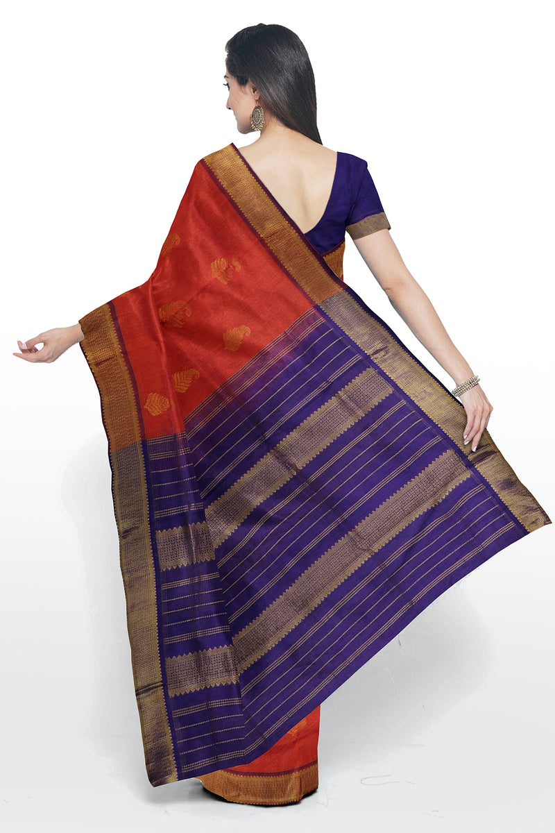 Silk Cotton Saree orange and violet with zari buttas Traditional Border Vairaosi