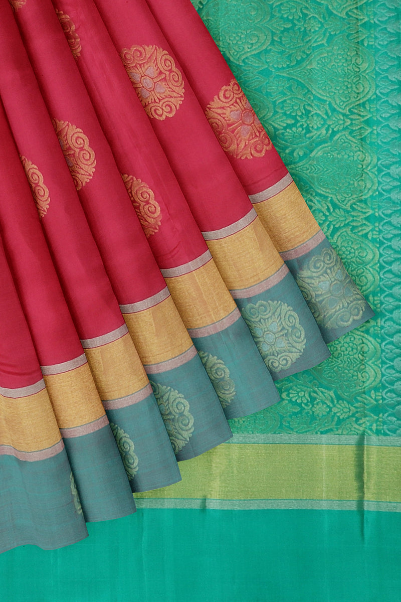 Soft Silk saree pink and pastel blue with overall golden zari floral buttas border