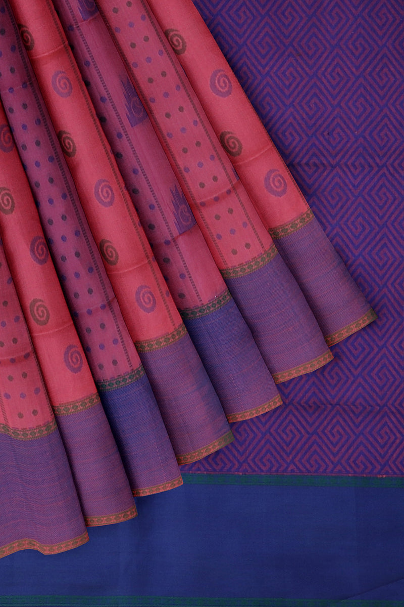 Light weight threadwork silk cotton saree peach pink and blue with dotted paisley design