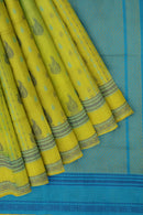 Light weight threadwork silk cotton saree lemon green and sky blue with paisley design