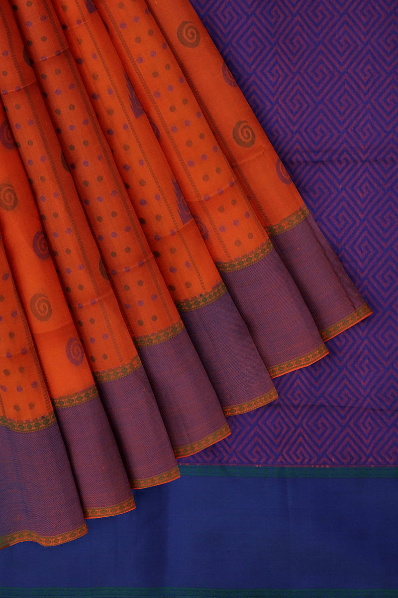 Light weight threadwork silk cotton saree orange and blue with dotted paisley design