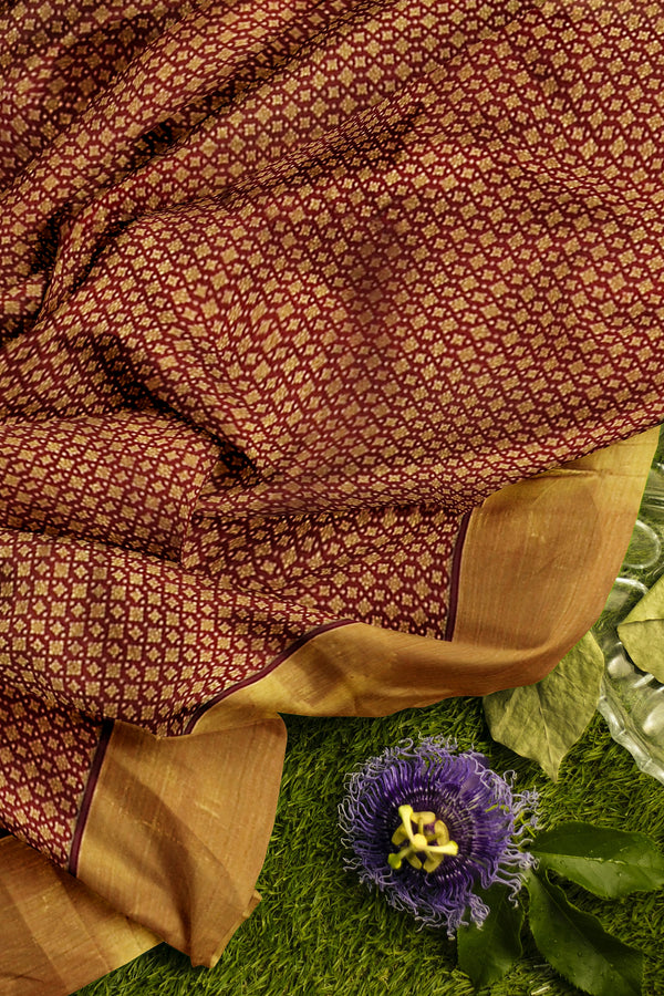 Pure Kanjivaram silk saree maroon with overall golden zari border