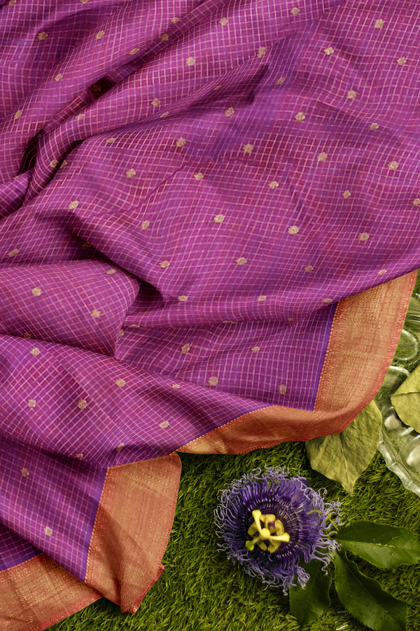 Pure Kanjivaram silk saree dual shade of purple with overall golden zari and border checked pattern