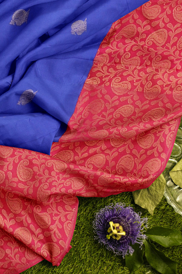 Pure Kanjivaram silk saree blue and hot pink with golden zari paisley design border