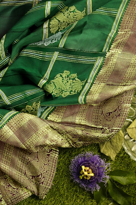 Pure Kanjivaram silk saree green and magenta with overall peacock golden zari checked patten and long border