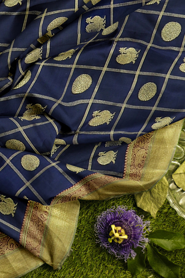 Pure Kanjivaram silk saree navy blue and  maroon checked pattern with golden zari round buttas