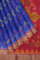 Ikkat soft silk saree blue and dual shade of pink with zari border