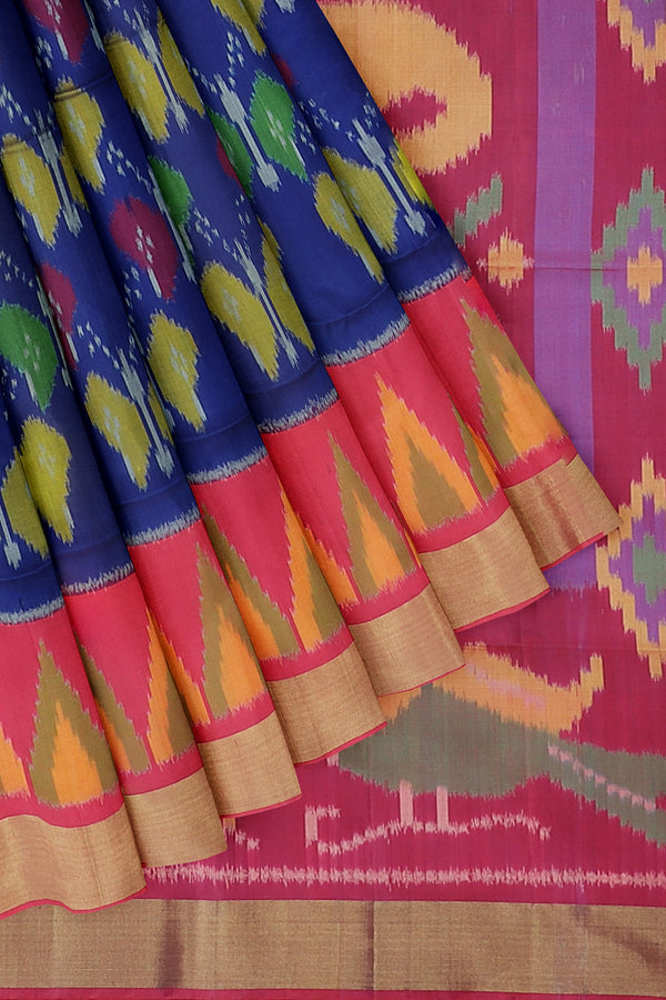 Ikkat soft silk sarees blue and peach pink with temple golden zari border