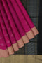 soft silk saree pink and black checked pattern with floral zari buttas and border