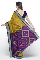 Ikkat soft silk saree golden yellow and violet with silver zari border