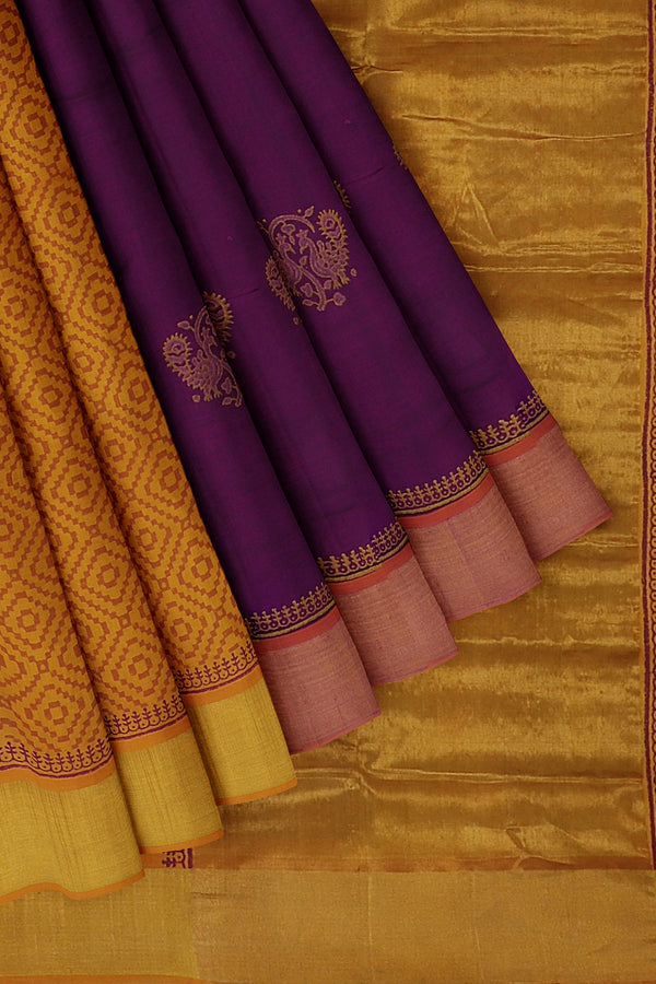 Hand block printed silk cotton partly saree purple and mustard yellow with peacock design and zari border