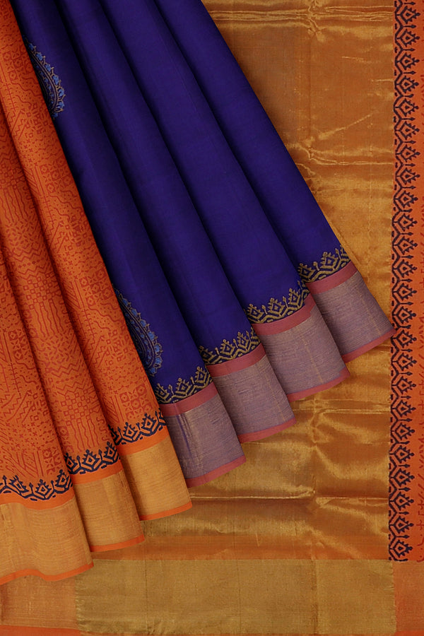 Hand block printed silk cotton partly saree blue and orange with paisley designs and zari border