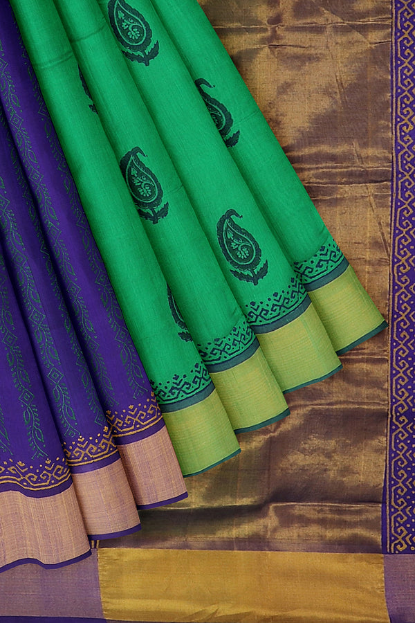Hand block printed silk cotton partly saree green and blue with paisley designs and zari border