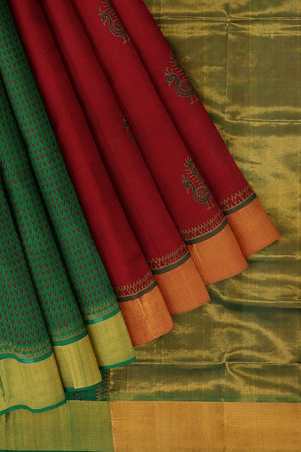 Hand block printed silk cotton partly saree maroon and green with peacock designs and zari border