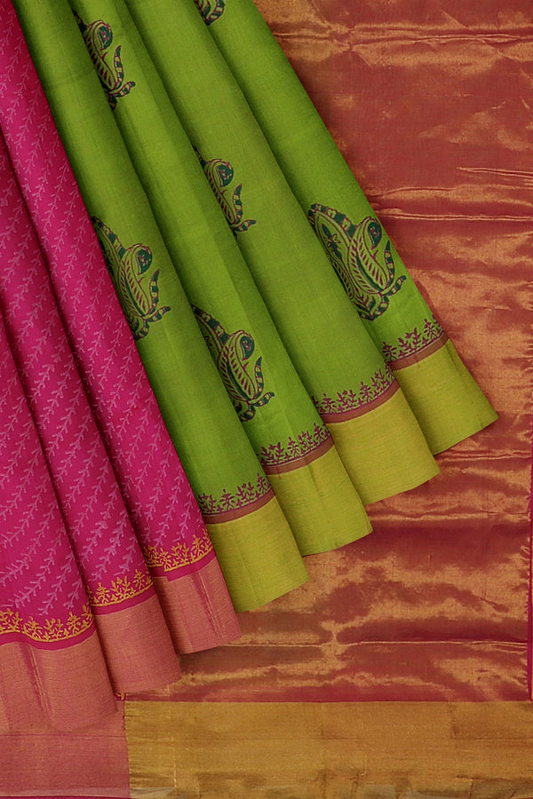Hand block printed silk cotton partly saree green and pink with arrow pattern