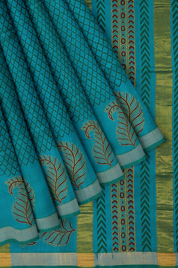 Hand block printed silk cotton saree peacock blue with overall checked pattern feather design