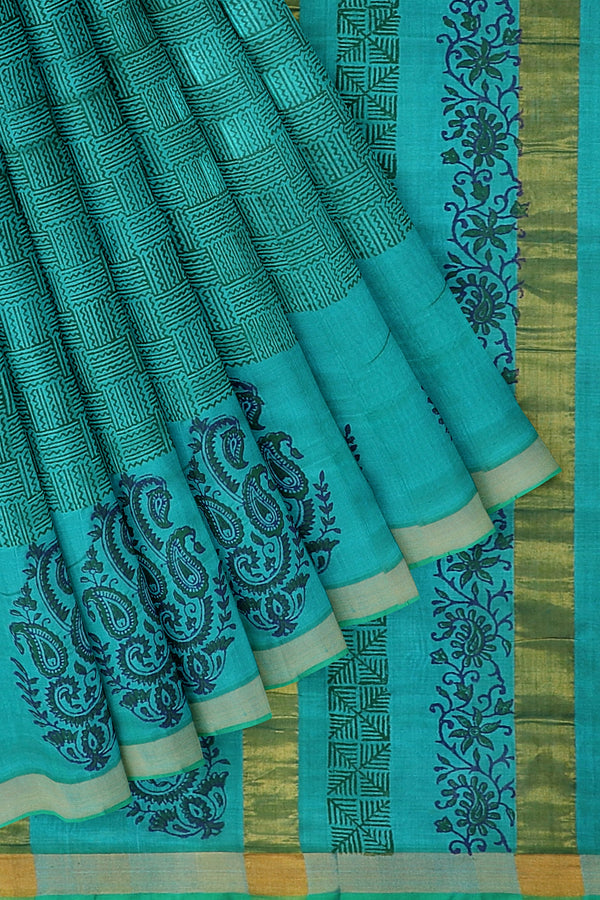 Hand block printed silk cotton saree dual shade of coral blue with paisley floral design