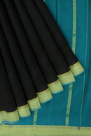 Pure mysore crepe silk saree black and blue with golden zari border